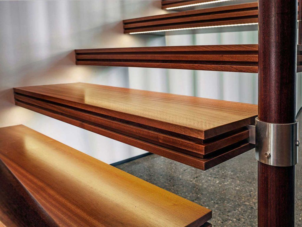Custom wood steps with lighting turn on