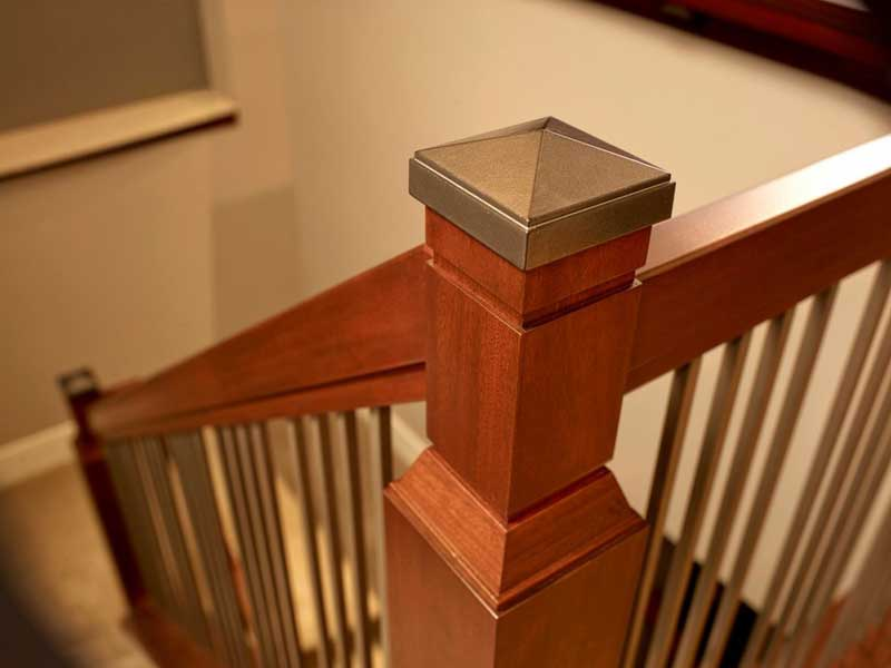 brown wooden stair railing