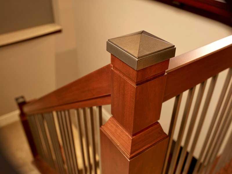 brown wooden stair railing